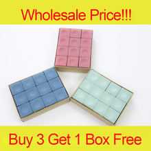 Promotion!!! Wholesale Price 12 Pieces/Box Pool Billiard Chalk Blue/Green/Red Colors Billiard Accessories China 2017