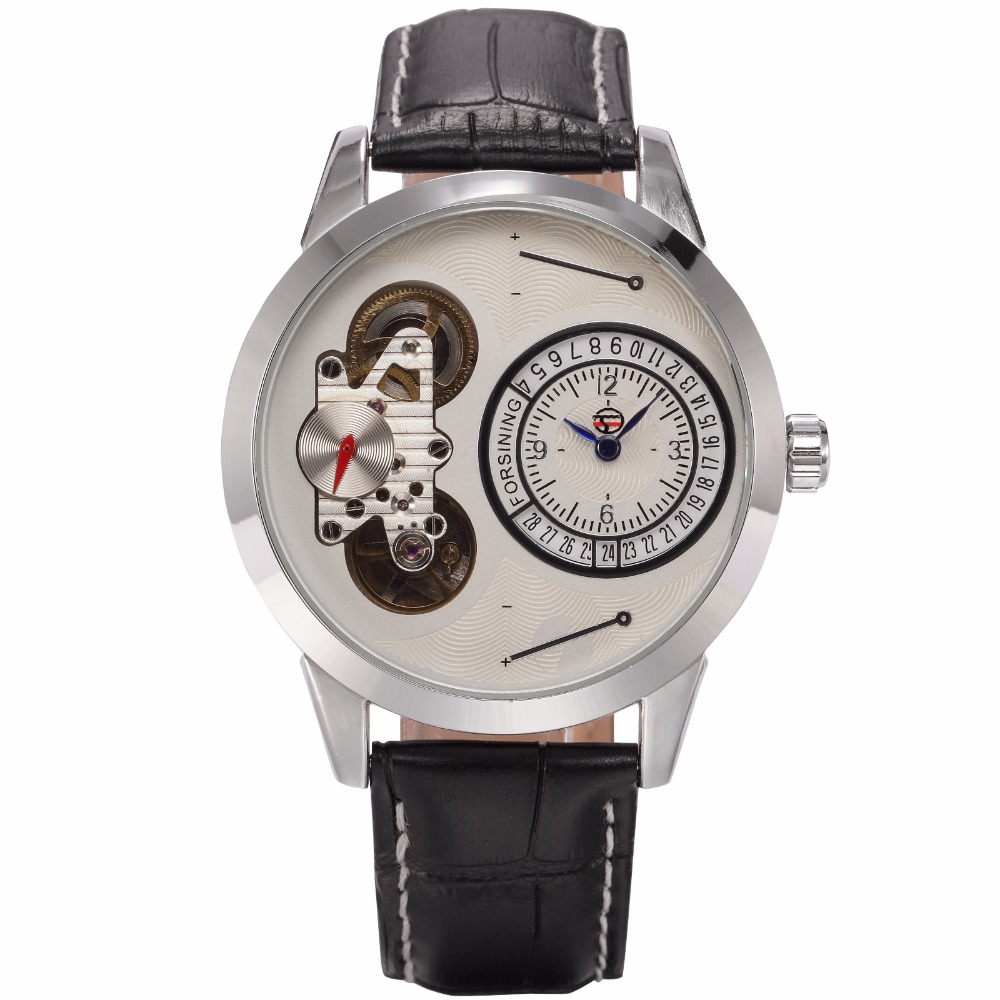 FORSINING Fashion Design Male Clock Small Second Hand Dual Movement Mechanical Quartz Auto Date Mens Automatic Wrist Watch<br>