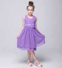Summer girls floral princess chiffon dresses children pink red purple blue orange tiered kids polyester party ball gown FC031