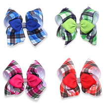 "4pcs/lot 5"" Grosgrain Ribbon Plaid Hair Bows With Clips Rhinestone HairGrips Tartan Classic Hairbows Girls Barrettes Clips(China)"