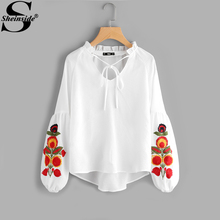 Sheinside White Floral Embroidery Blouse Lantern Sleeve Frill Tie Neck V Neck High Low Plain Top 2017 Womens Boho Blouse(China)