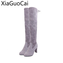 Brand Name Winter Women Thigh High Boots Long Platform Boots High Heels Suede Over-the-knee Boots for Women Z476 35(China)