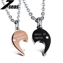 Romantic Lovers Promise Couple Pandent Necklace Fashion 316L Stainless Steel + Cubic Zirconia Women Men Jewelry Necklaces,JM998X(China)