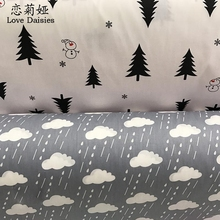 100% cotton twill cloth NORDIC WIND black pine gray clouds DIY for kid bedding cushion handwork textile fabric tissue telas