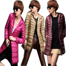 2017 Warm Winter Jacket Women Fashion Cotton White Duck Down Parka Ultra-light Down Cotton Jacket Long Elegant Outwear DP020
