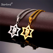 Starlord Magen Star Of David Pendant For Men/Women Gold Color/Stainless Steel Hamsa Hand Necklace Jewish Jewelry GP2271(China)