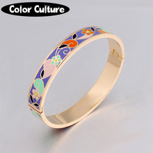 2017 New Top Quality Bangles Bracelet For Women Gold Couples Bangle Ethnic Colorful Enamel Jewelry(China)