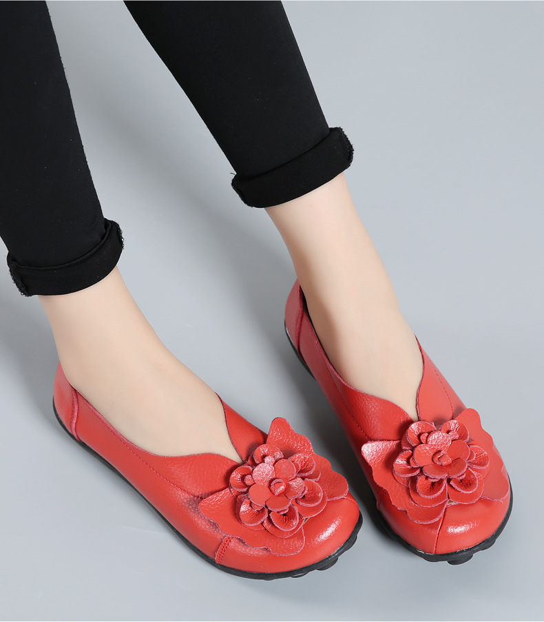 Women Real Leather Shoes Flower Moccasins Mother Loafers Soft Leisure Flats Casual Female Driving Ballet Footwear Women Shoes 22