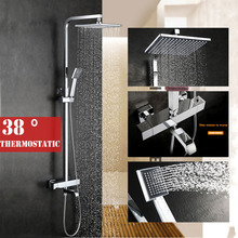 "Buy 38 Thermostatic valve new Chrome Brass high Bathroom Rain 9"" Shower Mixer Tub Faucet Shower Set for $235.98 in AliExpress store"
