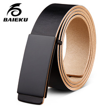 Buy BAIEKU Simple fashion black buckle men's belt Smooth buckle leather belt Trousers accessories belt Men Belt for $17.11 in AliExpress store