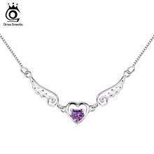 ORSA JEWELS Angel Heart Pedant Necklace with Charm Purple Crystal 2017 New Fashion Silver Women Jewelry ON40(China)