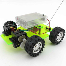 DIY Dual Motor Car 4ch Remote Control Handmade Car Puzzle Model Children Scientific Experiments Tool No Battery(China)