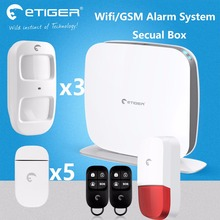 Original Etiger wifi alarm system IOS andorid APP control 3 animal PIR 5 door sensor Wifi Security System wifi alarm system(China)
