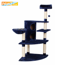 Fast Delivery!!H138cm Luxury Blue Cat Toys Cat Climbing Tree Cat Fun Scratching Solid Wood Pet Kitten Climb Frame Hanging Ball(China)