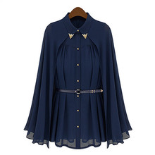 2017 Spring New Vintage Loose Chiffon Cape Sequined Collar Long Batwing Sleeve Women Blouse Shirt OL Tops Blusas Plus Size