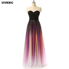 UVKKC Party Dresses 2017 Bridesmaid Party Dress Ever Pretty V Neck Strapless Elegant Gradient Ruffled Bridesmaid Mesh Dress