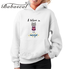 Babaseal Believe In Magic Cute Little Kitty With Heart Romantic Card Wedding Brand Crewneck Sweatshirt Funny Oversized Hoodies