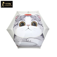 children Umbrella female 5 fold umbrella Chinese cute cat dog uv TTK cartoon small pocket parasol sun mini Umbrellas rain women(China)