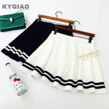 KYQIAO Mori girls Japanese navy white black stripe a-line skirt, Lolita sailor skirt, Cosplay costumes, Japan school uniform(China)