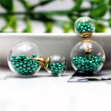 2015 new design fashion brand elegant Glass flowers jewelry double  Imitation pearls stud earrings for women big beads earings