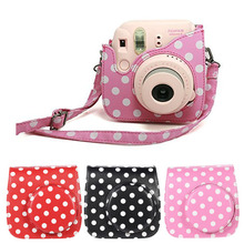 Classic PU Leather Polka Dot Camera Case Bag For Polaroid FUJIFILM Instax Mini 8 Mini 9 Shoulder Strap Pink Protector Cover