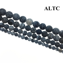 Wholesale 4-14mm Dull Polish Black Carnelian Beads Fire Dragon Polish  Veins onyx beads For Jewelry Making