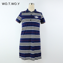 2016 Summer Striped Knee-Length Short Sleeve Loose Dress Polo Plus Size Brand Cotton Causal Print Dress One-piece Women 062