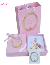 KC15 New Pink (purple red pink cake)France  Macaroon Effiel Tower Keychains Christmas Mother Gifts w Box Ribbon Handbag
