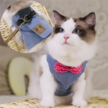 Cat Harnesses Kitten Traction Elegant Bohemia Style Vest+130cm Leash Set Lovely jeans bow-knot Pattern Goods for cat Puppy