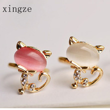 2016 Cute Hello Kitty Cat Gold Color Ring Opening Women Fashion Bright Rhinestone Opal Hand Jewelry Wholesale