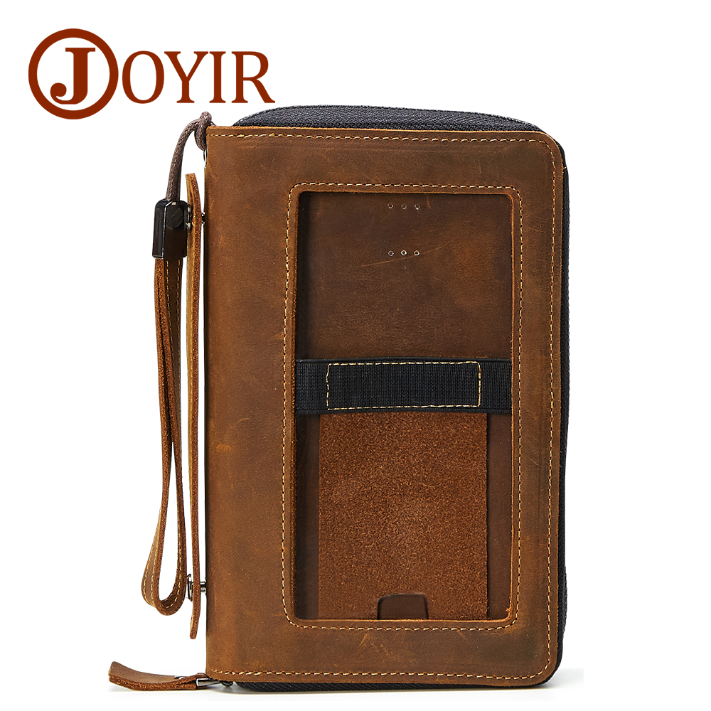 JOYIR Designer Genuine Leather Men Long Wallet Credit Card Holder Cellphone Holder Zipper Coin Purse Men Wallets Clutches Bag<br>