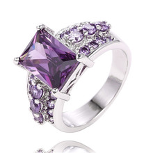 SHUANGR wholesale 1pc Silver-Color Purple Brilliant Cubic Zirconia Men/ women's party Finger Ring for gift