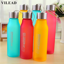 VILEAD Portable Water Bottle Plastic Sport Creative Frosted Shatterproof Space Bottle Leakproof Candy Color Outdoor Lemon Bottle(China)