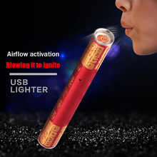 Novelty Mini Electronic Cigarette Lighter Plasma USB Rechargeable Blowing a Cigarette Stick Creative Windproof USB Lighters(China)