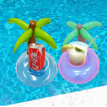 12PCS/ Set Inflatable Water Float Inflated Palm Tree Drink Holder Pool Float Phone Holder Swimming Pool Favors Baby Bath Toy