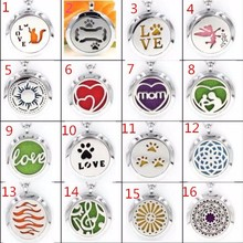 16 styles Stainless Steel Perfume Aromatherapy essential oil Diffuser Locket Floating locket (Felt Pads randomly freely)