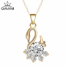 QIMING CZ Elegant Swan Necklace Lover's Gift New Gold Stellux Austrian Crystal Swan Pendant Necklace for Women Collier