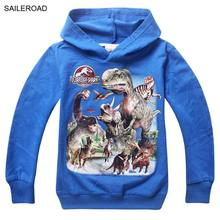 5-13ages Dinosaur Children kids boys t shirt outerwear autumn children boys clothing boys hooded clothes vestidos SAILEROAD