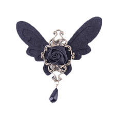 New Arrival Handmade Black Wings Brooch Gothic style Simulated-pearl Brooches Vintage Cloth Jewelry