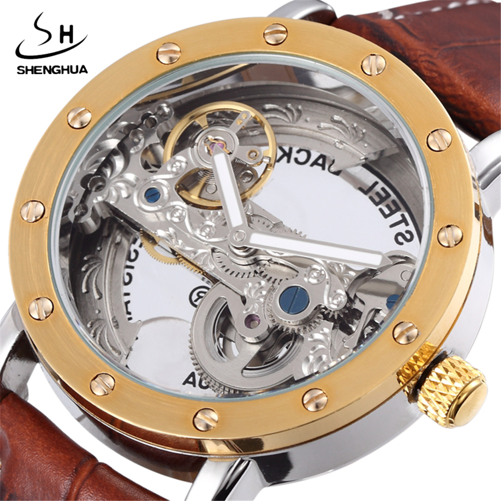 Fashion Brand SHENHUA 2017 Vintage Antique Hollow Carved Movement Skeleton Mechanical Watches Men Leather Automatic Watch Gift<br>