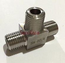"Tee 3 Way 304 Stainless Steel Pipe Fitting Connector Adapter Equal 1/4"" BSP male Threaded Max Pressure 2.5 Mpa(China)"