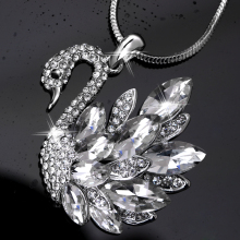 ZOSHI Classic Cubic Zirconia Swan Pendant Necklace Fashion Jewelry for Women Silver Plated Snake Box Chain Long Necklaces