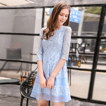 Long Dress Rushed Cotton Sexy & Club Robe The 2017 Women's Fashion New V Collar Ladies A Word Openwork Five Sleeve Dress 66606