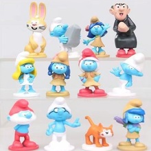 [Fly AC] New Arrivals High quality The Elves Papa Smurfette Clumsy Figures Action Toys Birthday gift toys for Children 12pcs/lot
