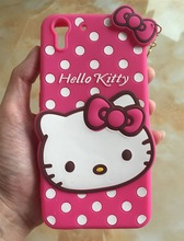 For HTC Desire Eye Popular Super Lovely 3D Hello kitty Cartoon cat Cute heart pendant lady women soft Rubber phone case cover