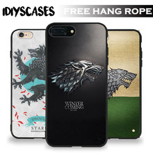 House Stark Game of Thrones New Free Hang Rope Tpu Soft Silicone Phone Case Cover Shell Bag For Apple iPhone 5 SE 5S 6 6S 7 PLUS