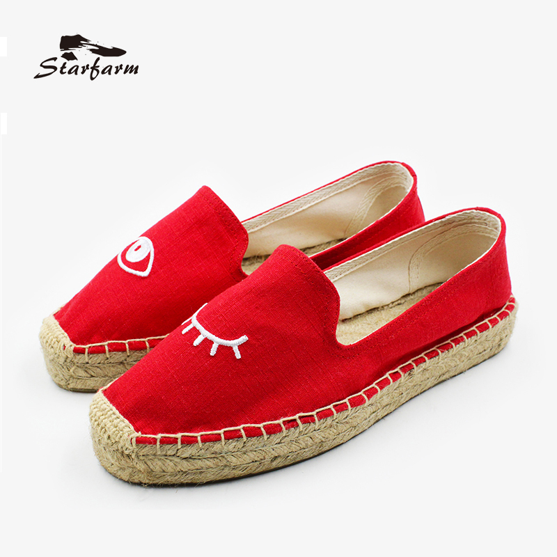 STARFARM Espadrilles Women Flat Shoes Canvas Platform Loafers Embroidered Eye Pattern Shoe in Red Chaussure Femme<br>