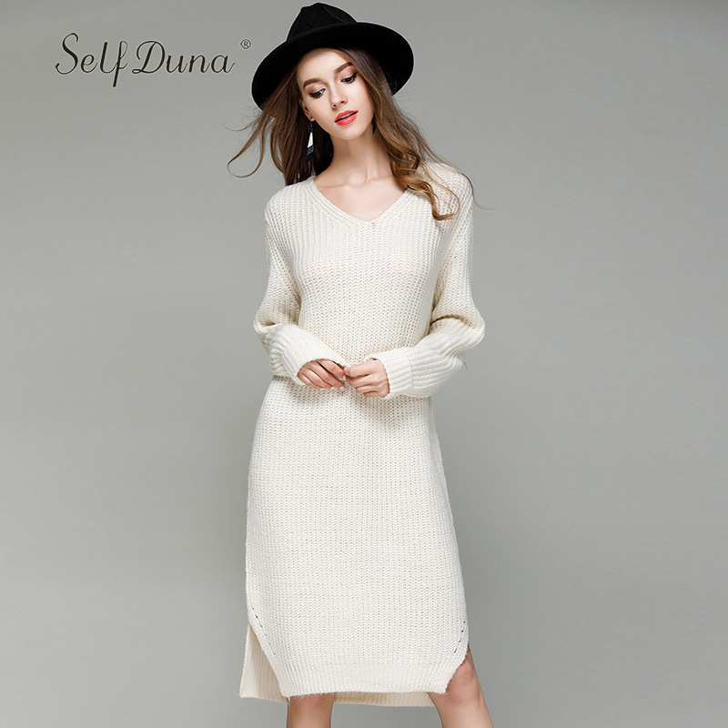 Self Duna 2017 Autumn Winter Women Sweater Dress Long Sweater Split White Grey Warm Casual Loose Plain Knitted DressÎäåæäà è àêñåññóàðû<br><br>