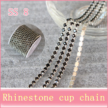 10yard SS8 Silver base black rhinestone chain  with claw  sew on Crystal rhinestones strass stones use for garment accessories