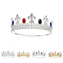 SWEETV Imperial Medieval King Crown Crystal Prince Tiara Headpiece Royal Men's Head Jewelry w/ Gems for Celebration Party Shows